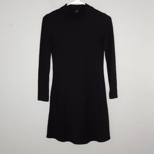 Madewell Black Ribbed Turtleneck Longsleeve Dress
